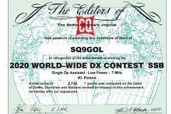 SQ9GOL_CQWW_2020_SSB_certificate