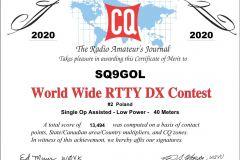 SQ9GOL_WWRTTY_2020_RTTY_certificate